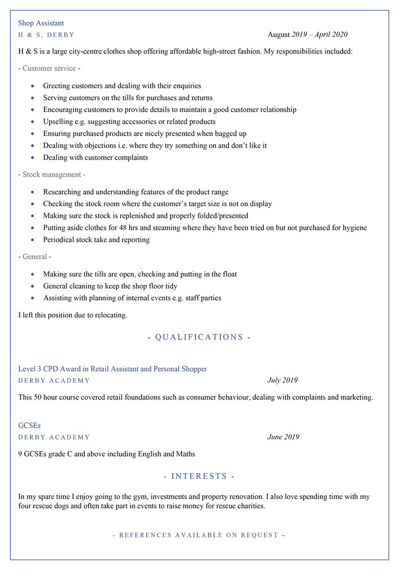 Shop assistant CV template - page 2