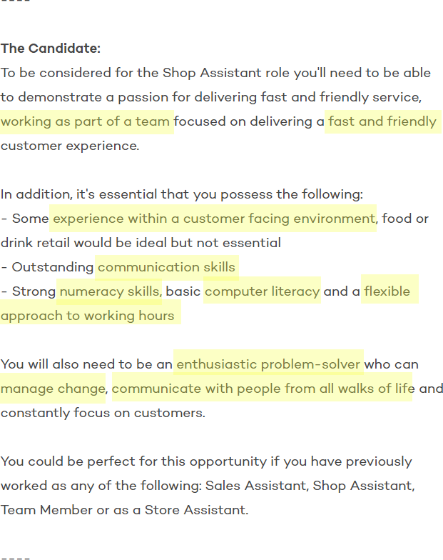 Job advert for a shop assistant