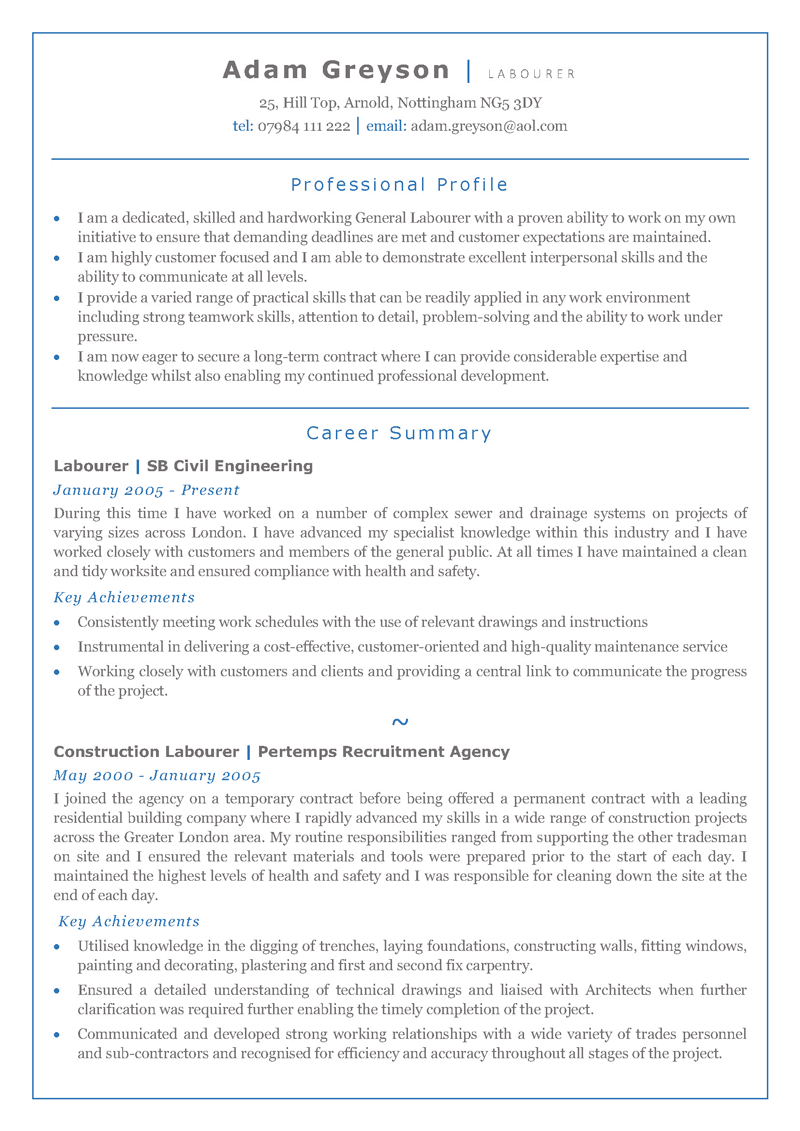 Labourer CV template - page one