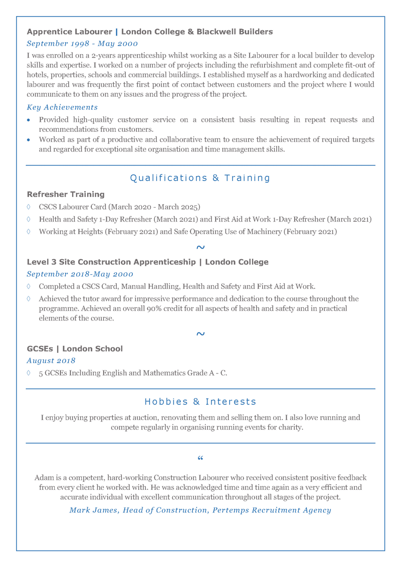 Labourer CV template - page two