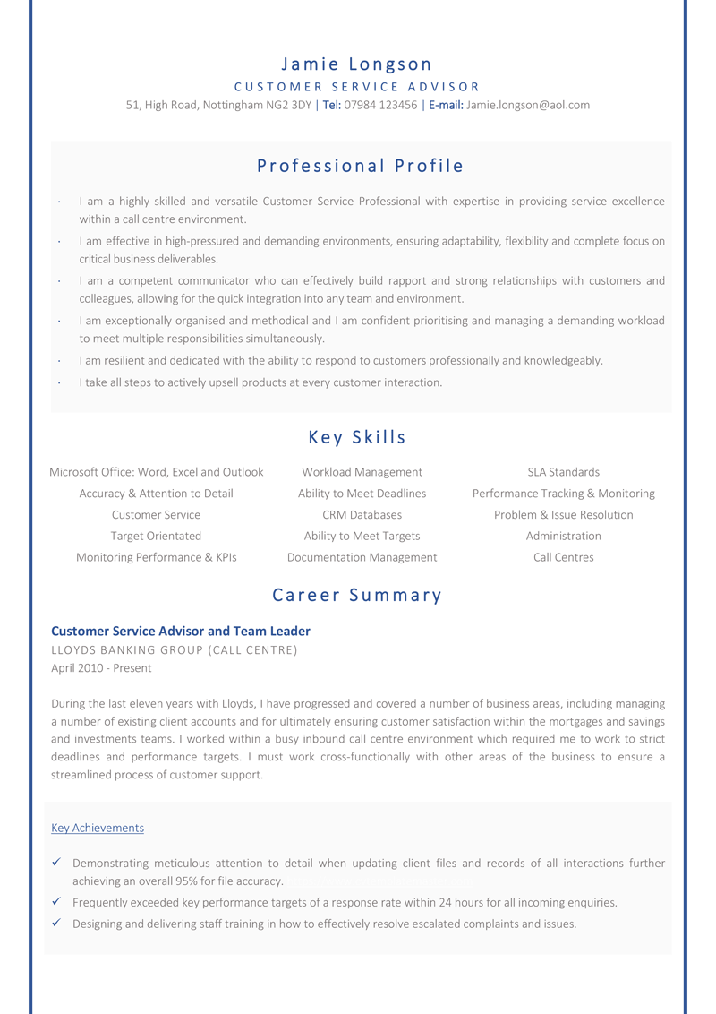 Customer service advisor CV template - page one
