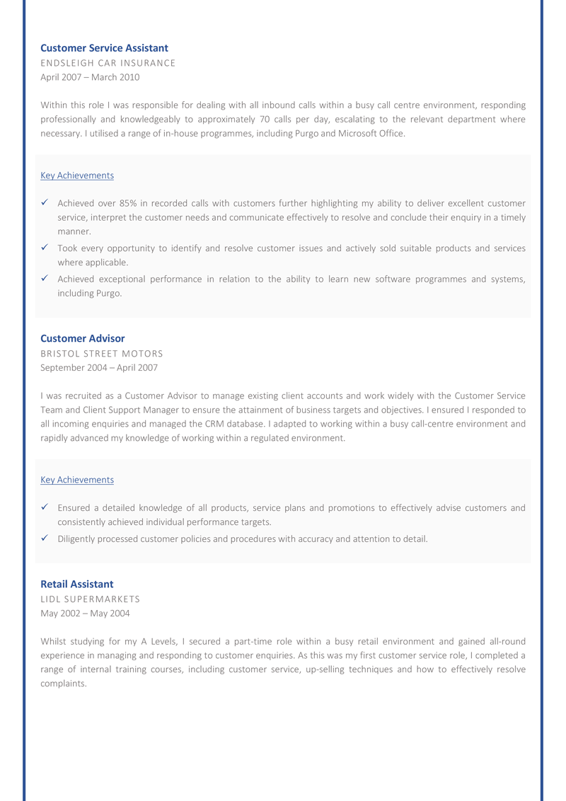 Customer service advisor cv template - page two