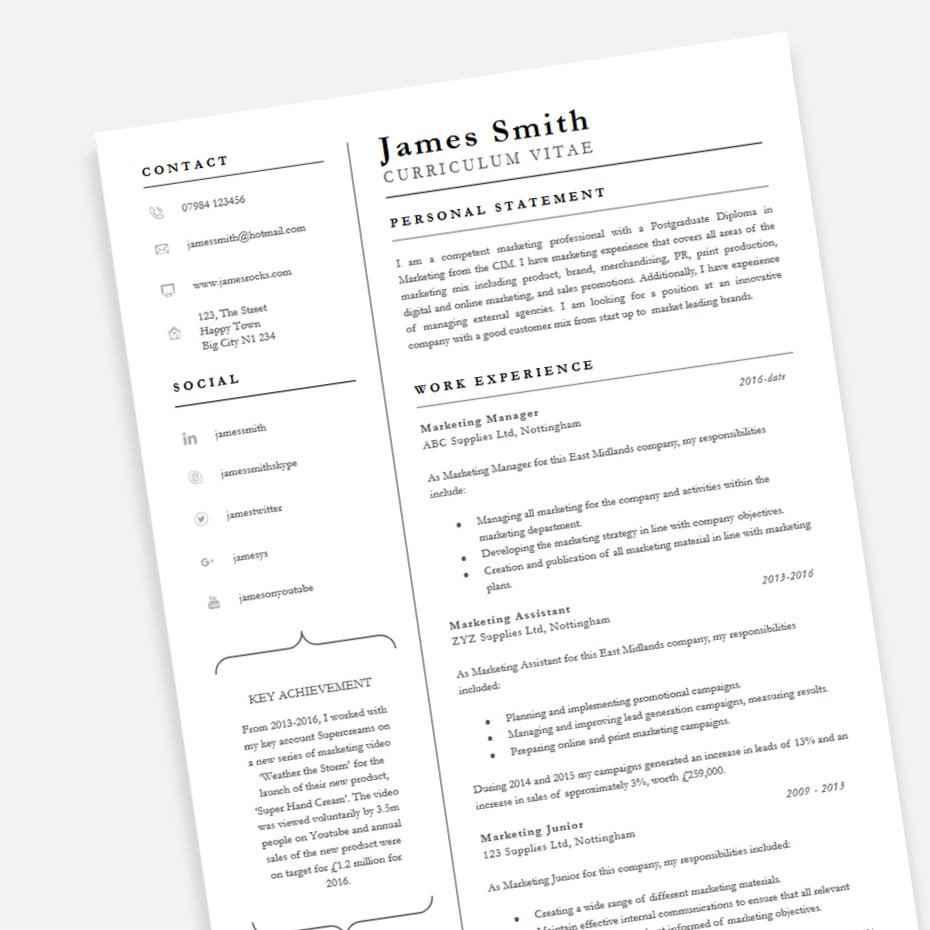Achiever Professional CV Template